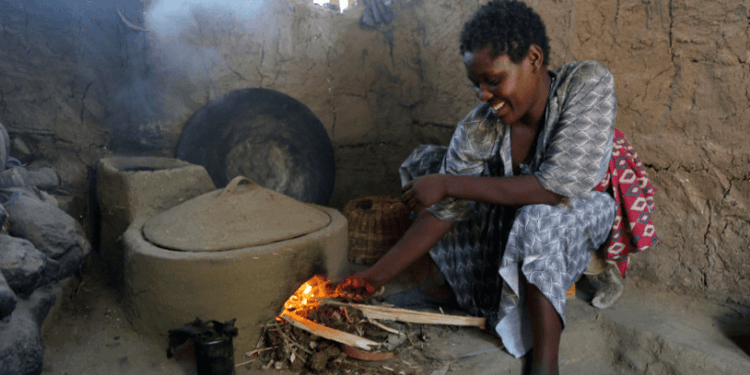 Lem Lem tends to her fuel efficient stove in Ethiopia