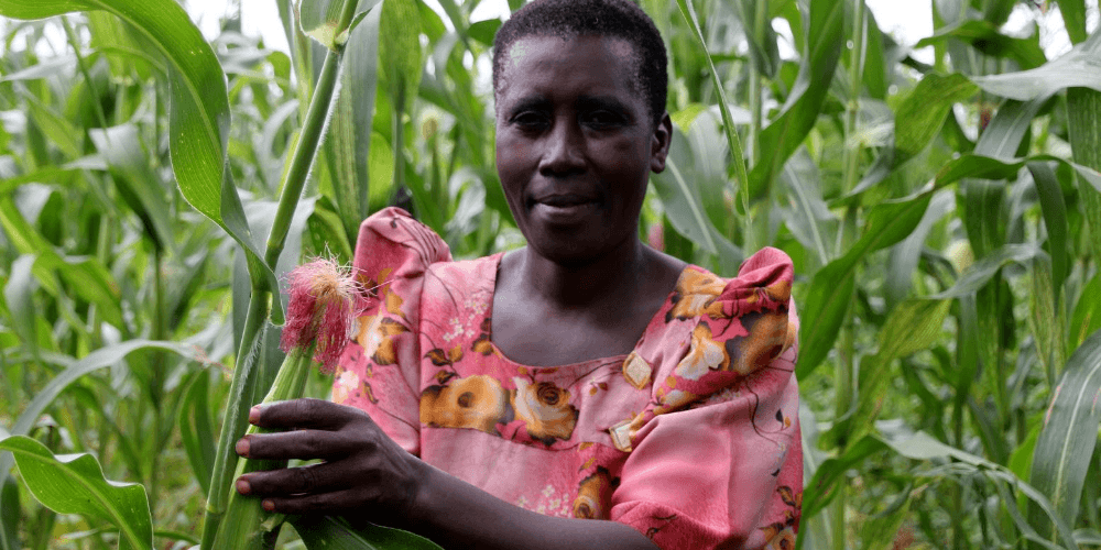 Monique, pictured in her fields in rural Uganda