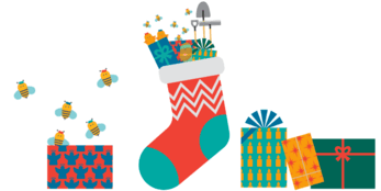 A cartoon stocking, filled with presents, sits surrounded by traditionally wrapped presents.