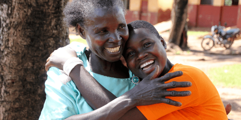 Nawalat and her mother Tarius embrace in Uganda