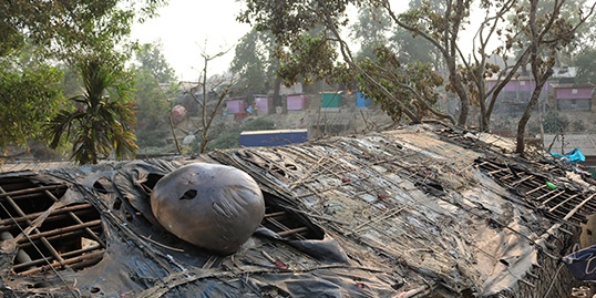 A severely fire damaged shelter in the camps of Cox's Bazar, Bangladesh.