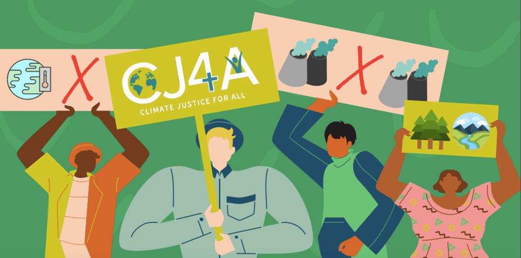 A cartoon graphic of people holding banners. One banner contains the Climate Justice for All Logo.